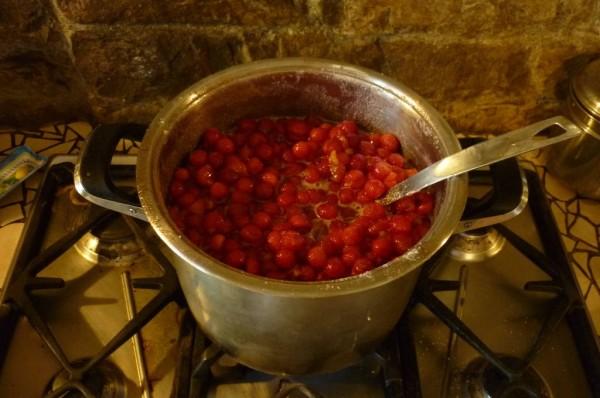 Cuocere le amarene per la marmelata