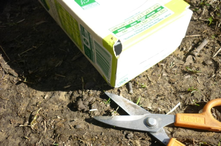 Fare buchi nel fondo del tetrapack coi forbici